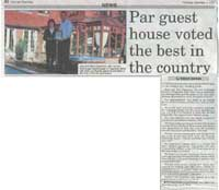 Par guest house voted the best in the country